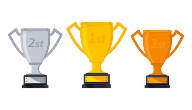 Золотой, серебряный и бронзовый кубки призеров. трофей победителей, символ победы в спортивном мероприятии. набор различных кубков, награда за победу. призовые кубки победителя игры, спортивные трофеи, кубковые призы за рейтинговые места