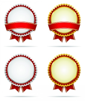 Gold and silver award badges