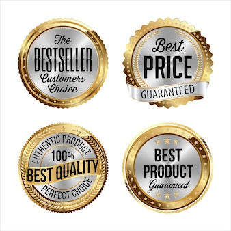 Gold and silver badges. bestseller, best price, best quality, best product.