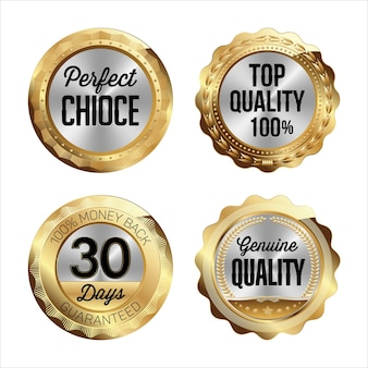 Gold and silver badges. Premium Vector