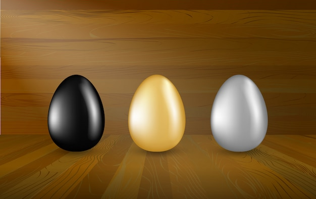 Gold, silver and black eggs collection on wooden background. set of easter eggs in wood show room, investment concept.
