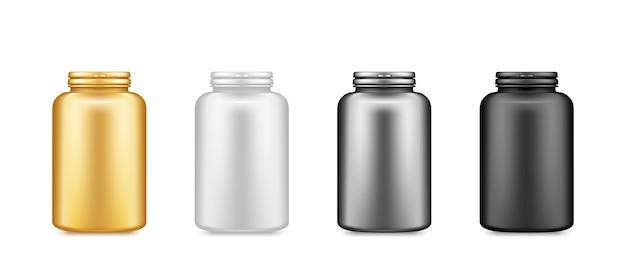 金、銀、黒のサプリメントプラスチックボトルのモックアップが白い背景で隔離