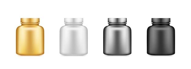 Gold, silver, black, white supplement or medicine pills bottle mockup