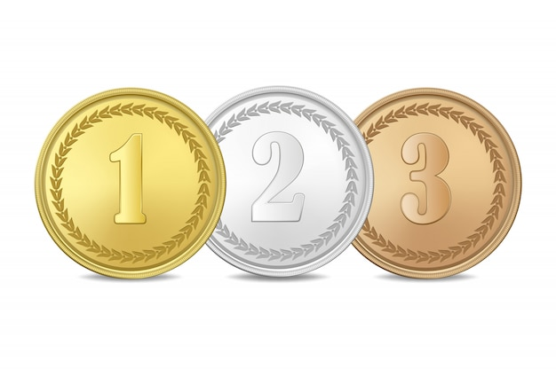 Gold, silver and bronze award medals set  on white background. the first, second, third prizes.