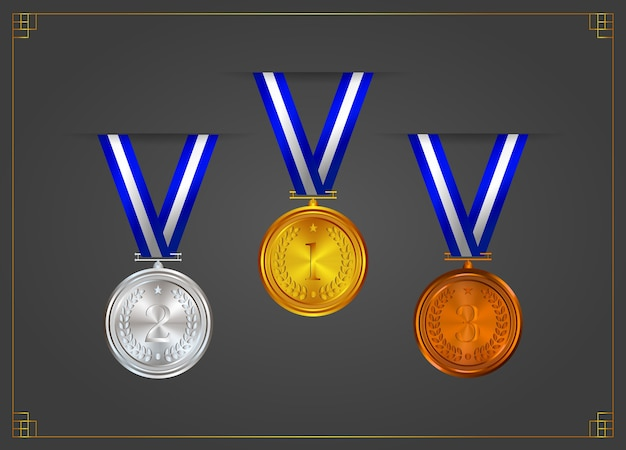 Gold, silver, bronze, award medals with ribbons