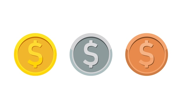 Gold, silver and bronze coins with dollar symbol. rank medal flat icon set. vector on isolated white background. eps 10.