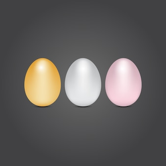 Gold silver and bronze eggs