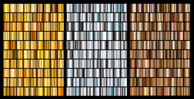 Gold,silver and bronze gradients set