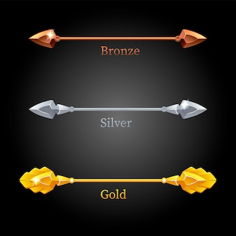 Gold, silver, bronze lances set on black