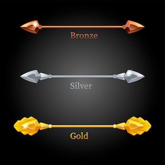 Gold, silver, bronze lances set on black