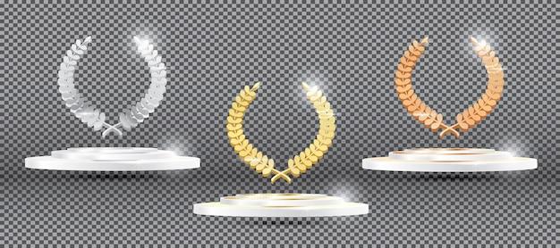 透明な背景のプラットフォーム上のゴールドシルバーブロンズ月桂樹の花輪。ベクトルイラスト。