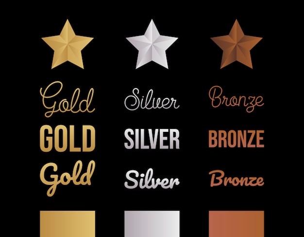 Gold silver and bronze letter set vector illustration