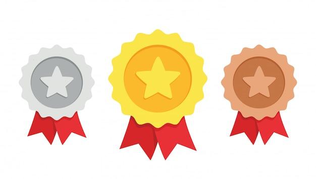 Золотая, серебряная, бронзовая медаль 1, 2 и 3 места трофей с красной лентой flat style