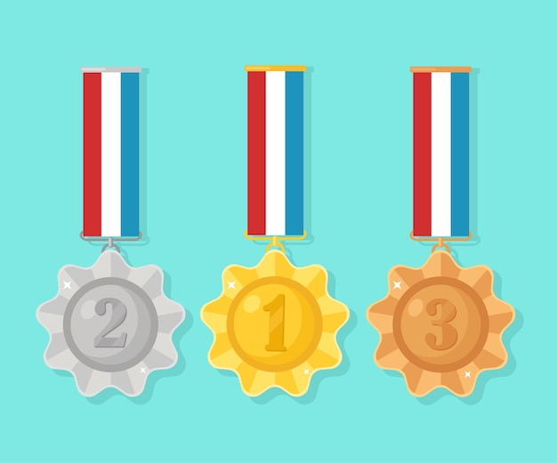 Gold, silver, bronze medal for first place. trophy, award for winner   on blue background. set of golden badge with ribbon. achievement, victory.   illustration