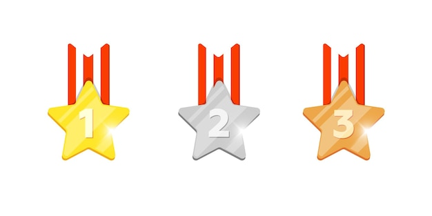 Gold silver bronze medal star reward set with first second third place number for computer video game or mobile apps animation. winner trophy bonus achievement award icons flat eps vector illustration
