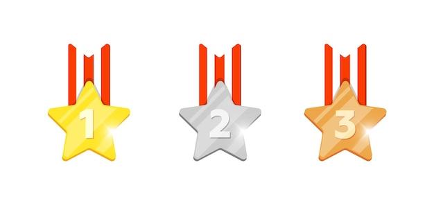 コンピュータービデオゲームまたはモバイルアプリのアニメーションの最初の2番目と3番目の場所の番号が設定されたゴールドシルバーブロンズメダルスター報酬。勝者トロフィーボーナス達成賞アイコンフラットepsベクトルイラスト