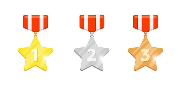 ビデオゲームまたはモバイルアプリのアニメーションの最初の2番目と3番目の場所の番号が設定されたゴールドシルバーブロンズメダルスター報酬。白い背景で隔離の勝者トロフィーボーナス達成賞フラットアイコン
