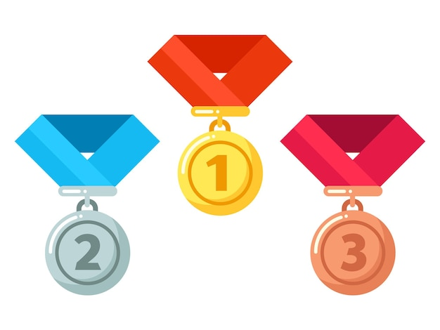 Gold, silver, bronze medals with ribbon