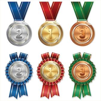 Золотые серебряные бронзовые медали с лентой