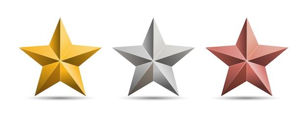 白い背景で隔離の金銀青銅の金属星。