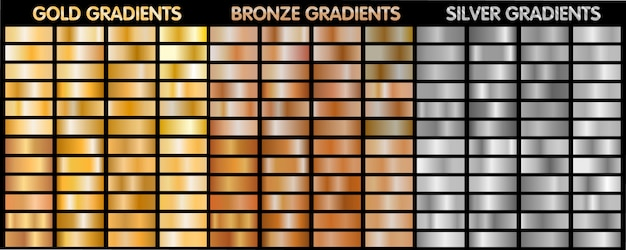 Gold, silver, bronze metalic gradients.