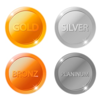 Gold, silver, bronze and platinum blank medals