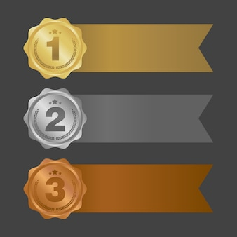 Gold silver and bronze ribbons. metal badges