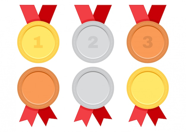 Gold, silver and bronze. set of award medals with red ribbon.
