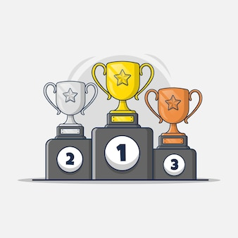 Gold, silver and bronze trophy collection with podium icon illustration