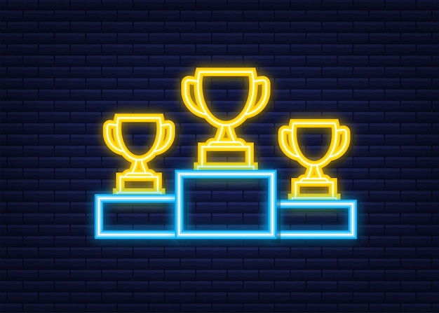 Gold, silver and bronze trophy cup on blue prize podium. business or sporting achievements, the championship winner. neon icon. vector stock illustration.