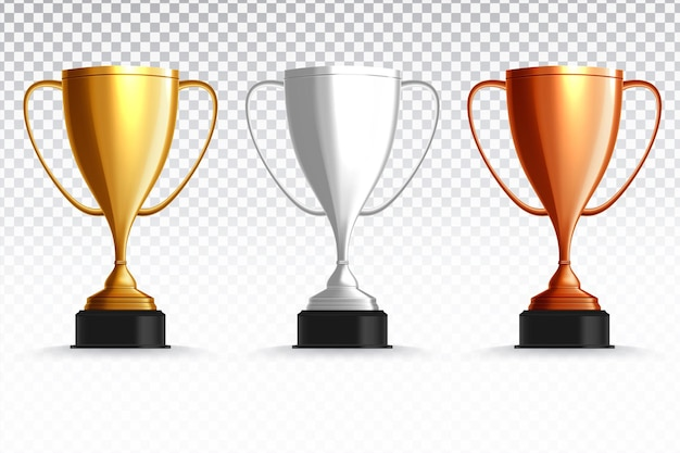 Gold, silver and bronze trophy cup