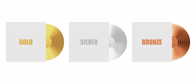 Gold, silver and bronze vinyl record with cover