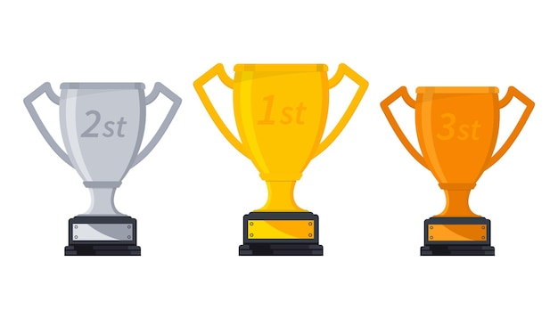 Gold, silver and bronze winners cup. winners trophy, symbol of victory in a sports event. set of different cups, award for victory. game winner prize cups, sport trophies, ranking places goblet prize