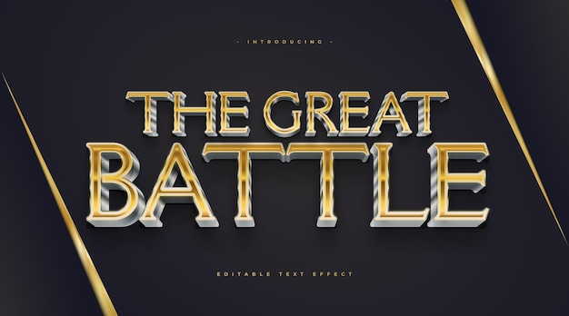 Gold and silver cinematic text style with 3d effect. editable text style effect