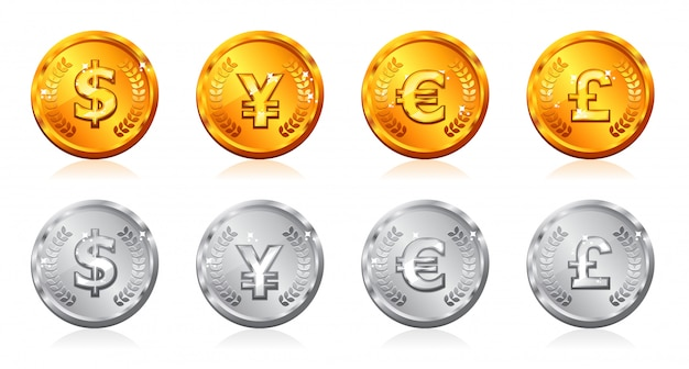 Gold & silver coins with many currency in