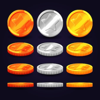 Gold, silver, and copper coins in different positions. vector elements for animation and computer ga