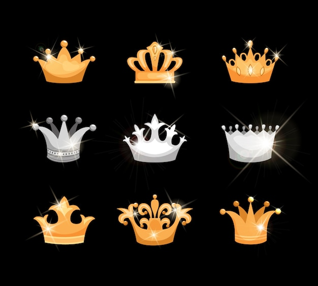 Gold and silver crowns vector icons set showing nine different designs suitable for royalty or heraldry with sparkling twinkling metallic or gem elements
