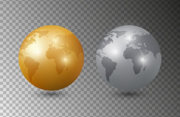 Gold silver earth. 3d earth planet models . planet isolated on transparent background