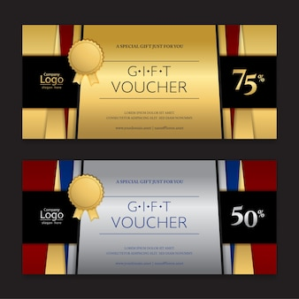 Gold and silver gift voucher or gift certificate card