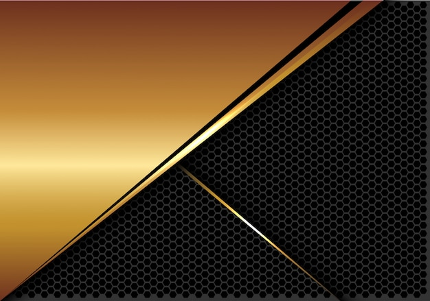 Gold silver line dark hexagon mesh luxury background.