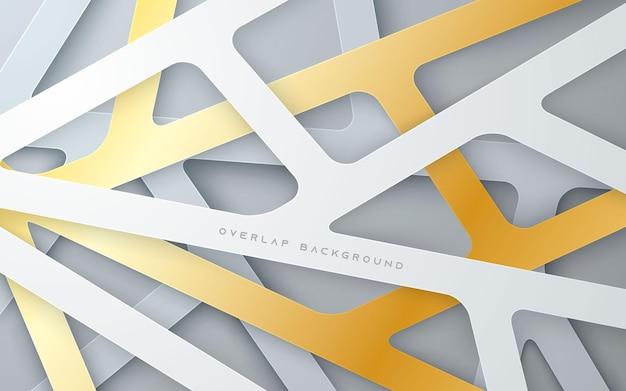 Gold and silver line overlap layer background multi dimension Premium Vector