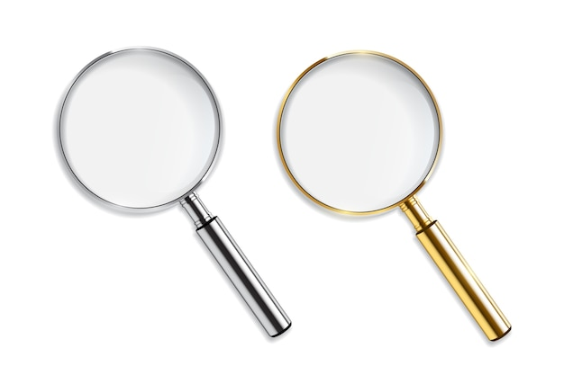 Gold and silver magnifiers  on white background.