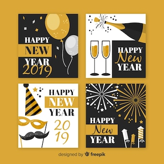Gold and silver new year party cards collection