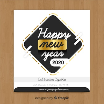 Gold and silver new year template