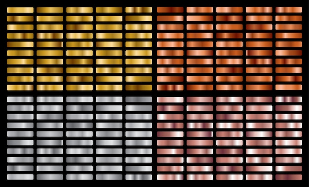 Gold, silver, pink, bronze metal gradient collection and gold foil texture set.
