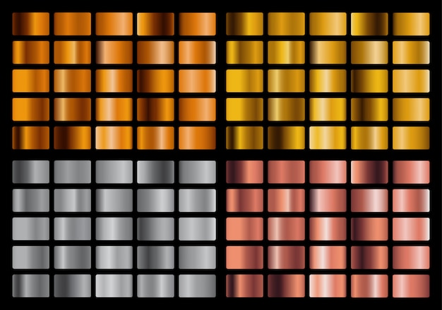 金、銀、ピンク、オレンジ色の金属のグラデーションコレクションと金箔のテクスチャセット。