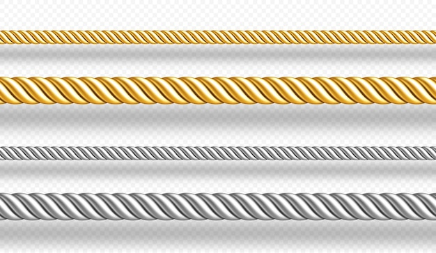 Gold and silver ropes twisted twines isolated on white wall  realistic set of d golden and metal satin cords decoration borders of straight silk strings