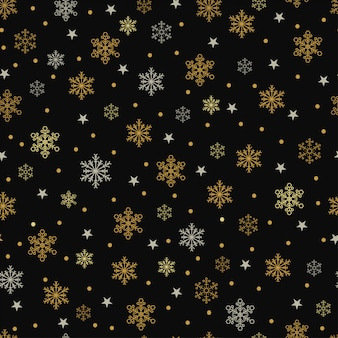 Gold and silver snowflakes and stars seamless pattern on a black background