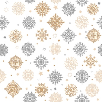 Gold and silver snowflakes and stars seamless pattern on a white background.