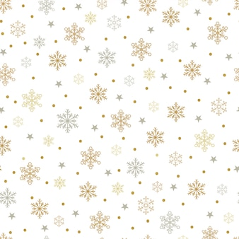 Gold and silver snowflakes and stars seamless pattern